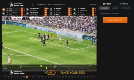screenshot Virtual Sports betting